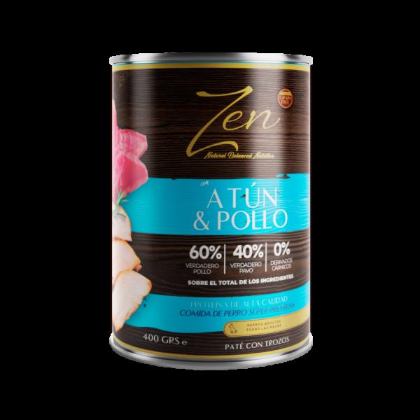 lata de paté para perro adulto con proteina de atun y pollo sin cereal grain free premium