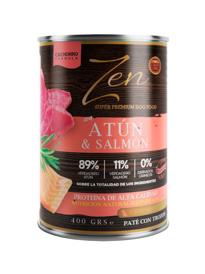 lata de paté para cachorros con proteina de atun y salmon sin cereal grain free premium zen pet nutrition