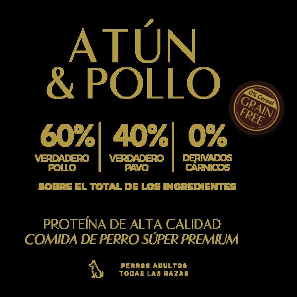 tuna atun chicken pollo 60% verdadero pollo 40% verdadero pavo 0% derivados carnicos tabla nutricional lata pate perros adultos sin cereal grain free premium