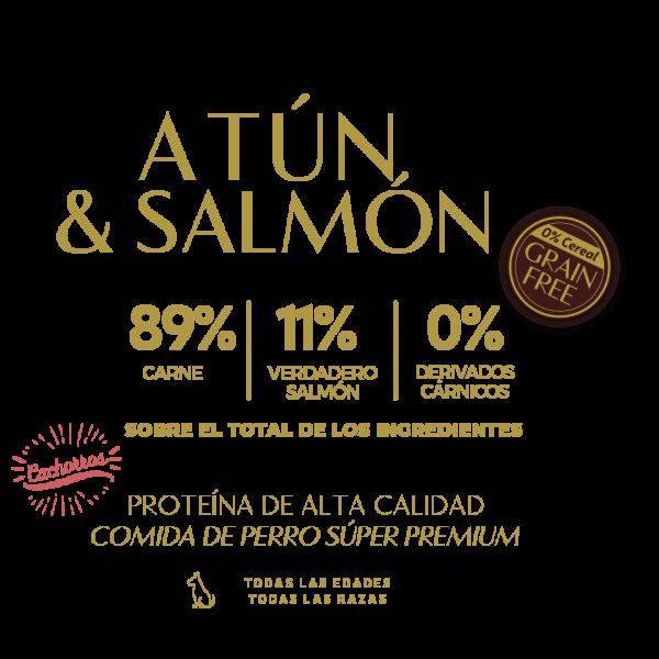 tuna salmon atun 89% carne 33% verdadero salmon 0% derivados carnicos tabla nutricional lata pate perros cachorros sin cereal grain free premium