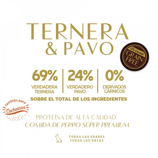 beef turkey 69% verdadera ternera 24% verdadero pavo 0% derivados carnicos tabla nutricional lata pate perros sin cereal grain free premium