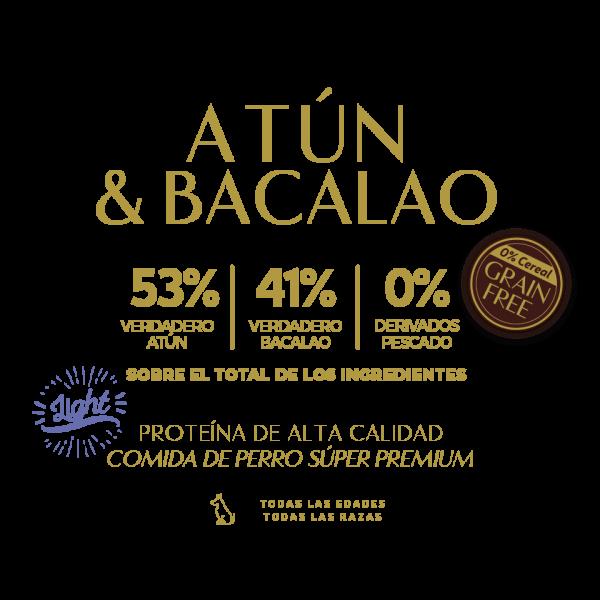 tuna bacalao 58% verdadero atun 41% verdadero bacalao 0% derivados pescado tabla nutricional lata pate perros sin cereal grain free premium