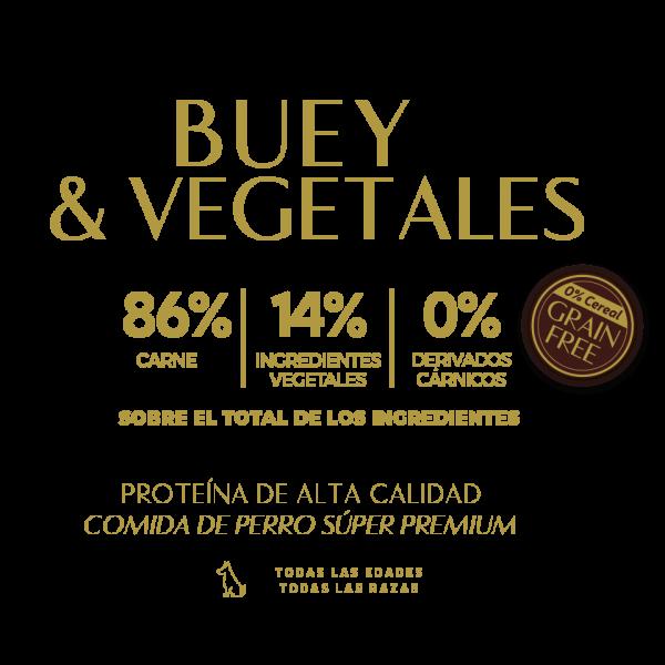 beef vegetables buey 86% carne 14% ingredientes vegetales 0% derivados carnicos tabla nutricional lata pate perros sin cereal grain free premium
