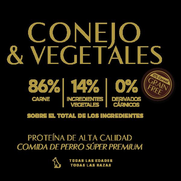 rabbit vegetables 86% carne 14% ingredientes vegetales 0% derivados carnicos tabla nutricional lata pate perros sin cereal grain free premium