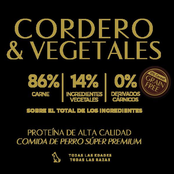 lamb cordero vegetables verduras 86% carne 14% ingredientes vegetales 0% derivados carnicos tabla nutricional lata pate perros sin cereal grain free premium