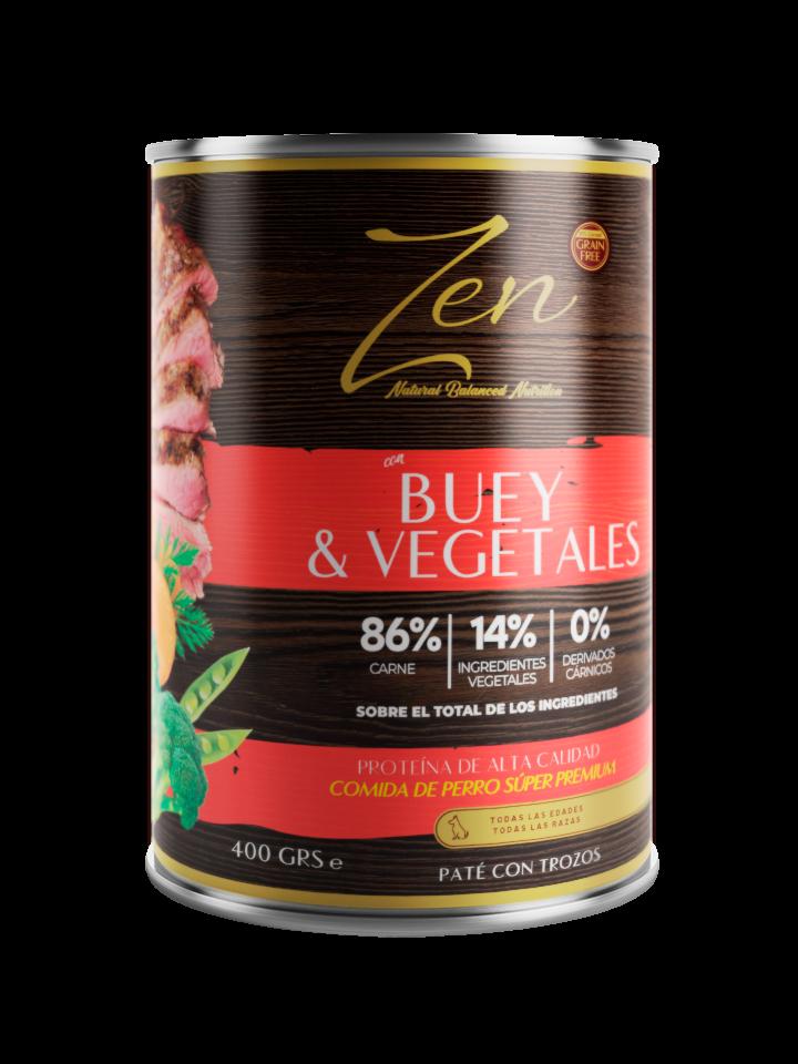 Zen paté con trozos de buey y vegetales para perros