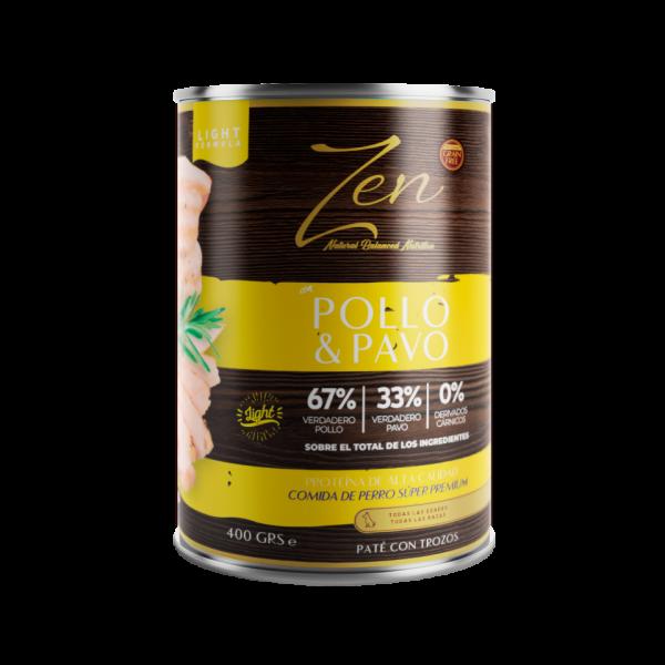 lata de paté para perros cualquier edad light con proteina de pollo y pavo sin cereal grain free premium