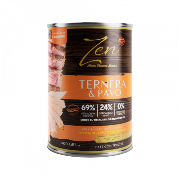 lata de paté para cachorros puppies puppy con proteina de ternera y pavo sin cereal grain free premium