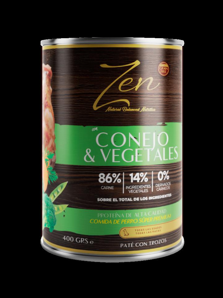 lata de paté para perro cualquier raza edad con proteina de conejo y verduras sin cereal grain free premium