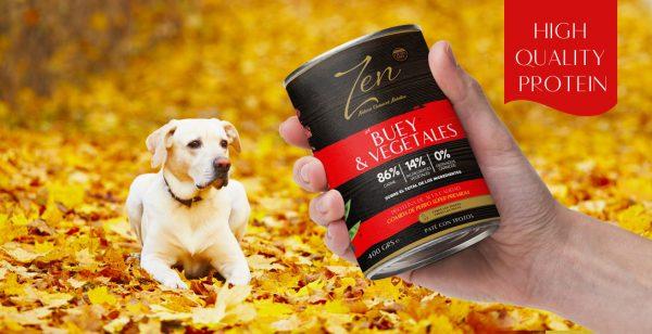 Lata paté para perro adulto de cualquier raza a base de proteina de buey y verduras premium grain free sin cereal