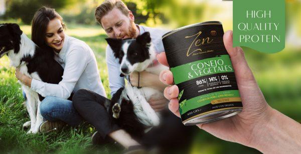 Lata paté para perro adulto de cualquier raza a base de proteina de conejo y verduras grain free sin cereal