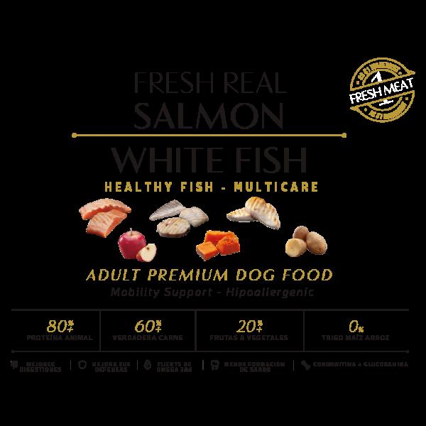 perro adulto salmon white fish atun 80% proteina animal 60% verdadera carne 20% frutas y vegetales tabla nutricional comida seca perros sin cereal grain free premium