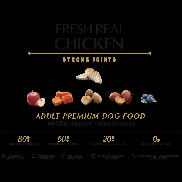 chicken pollo 80% proteina animal 60% verdadera carne 20% frutas y vegetales tabla nutricional comida seca perros sin cereal grain free premium